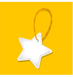 white star tag on yellow background vector image