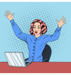 Woman with laptop business woman vector