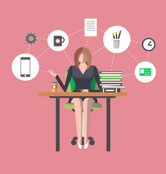 young woman in office workplace infographics vector image vector image