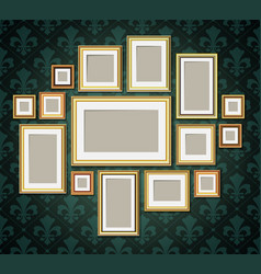 antique vintage wooden photo frames collection vector image