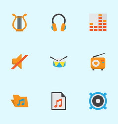Audio flat icons set collection of loudspeaker vector