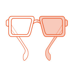 Red silhouette shading image cartoon glasses with vector