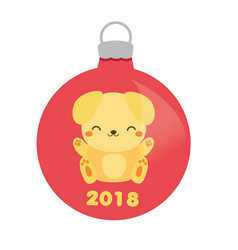 christmas bauble with cute yellow dog 2018 new vector image