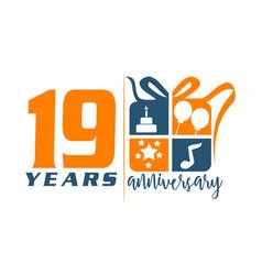 19 year gift box ribbon anniversary vector