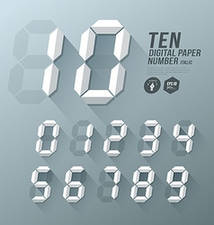 Digital number italic paper and shadow design vector