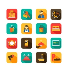 Hotel travel flat icons set vector