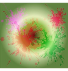 Watercolor paint splash on circle light green back vector