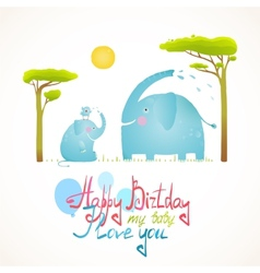 Cartoon african elephants bathing happy birthday vector