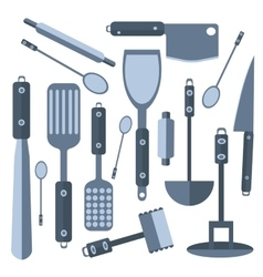 Set isolated kitchen tools knife spatula rolling vector