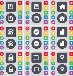 File floppy house retro phone tick file lock frame vector