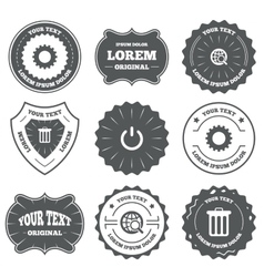 Globe magnifier glass and gear signs vector