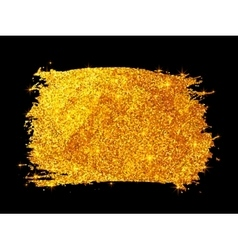 Golden glitter paint stain isolated on black vector