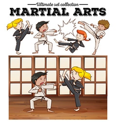 Boys and girls training martial arts vector
