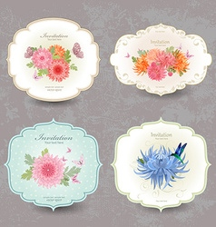 vintage collection label cards with chrysanthemum vector image