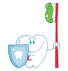 Smiling tooth with toothbrush and shield vector