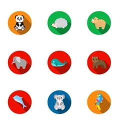 Animals set icons in flat style big collection of vector