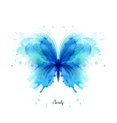 Beautiful blue watercolor abstract translucent vector
