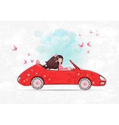beautiful girl is driving car the art floral red vector image vector image