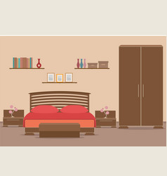 bedroom design interior with furniture bed vector image vector image
