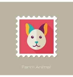 Cat flat stamp Animal head vector image vector image