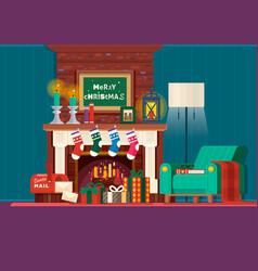 christmas fireplaceroom interior fireplace design vector image