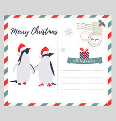 christmas new year greeting card with penguins vector image vector image