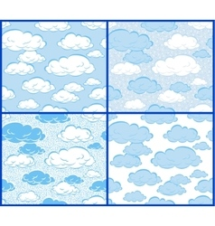Clouds - 4 patterns vector image vector image