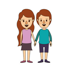 Color image caricature front view full body couple vector