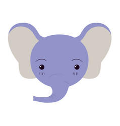 Colorful caricature cute face of elephant vector
