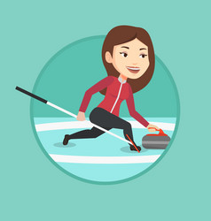 curling player playing on the rink vector image