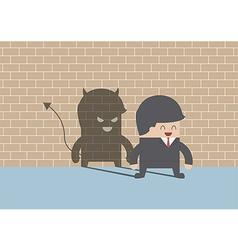 Devil shadow behind smiling businessman vector image vector image