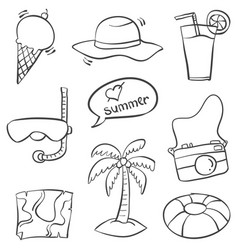 Doodle of summer object collection vector