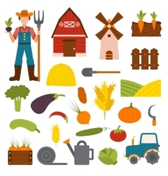Farm organic food agriculture in village elements vector