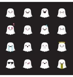Ghost emoji set funny halloween emoticons vector