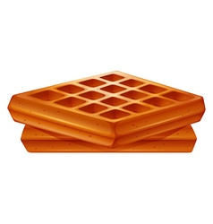 Golden brown waffles on white vector image vector image