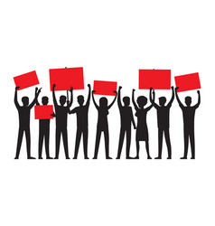 group of people with red placards silhouettes vector image