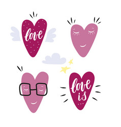 hand drawn hearts characters set of 4 icons with vector image