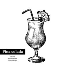 Hand drawn sketch cocktail pina colada vintage vector