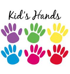 Kids handprints in six colors vector