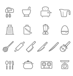 Lines icon set - kitchenware vector