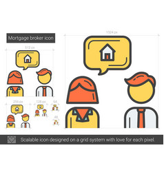 Mortgage broker line icon vector