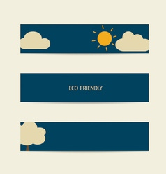 Nature banner Eco labels and cards with sun and vector image