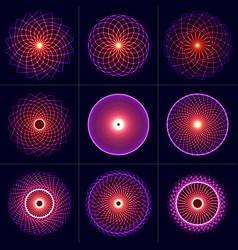 neon glow symmetry elements set sacred geometry vector image
