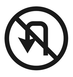 No u-turn prohibition sign line icon vector