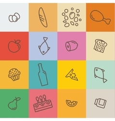 Outline icons food and products in flat style vector