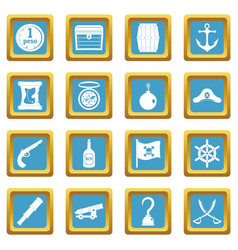 Pirate icons azure vector