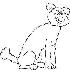 poodle dog cartoon for coloring book vector image vector image