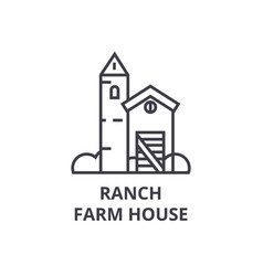 ranch farm house line icon outline sign linear vector image
