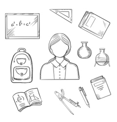 School teacher with education sketch icons vector