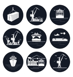 Set of Round Cargo Icons vector image
